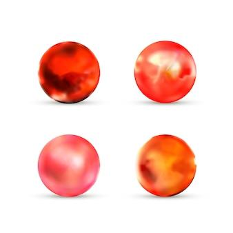 Insieme delle sfere di marmo lucide rosse con luce vivida su bianco