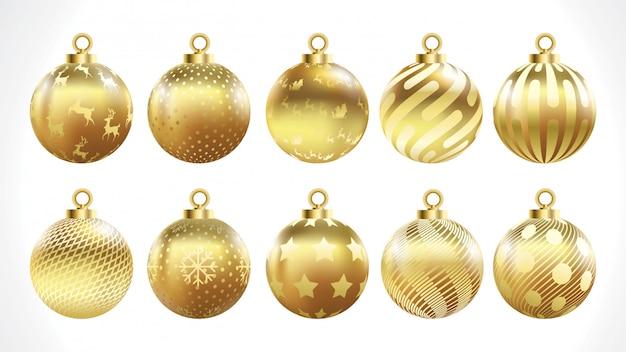 Insieme delle sfere di natale dell'oro di vettore con gli ornamenti