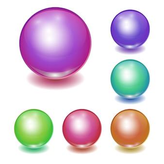 Insieme delle sfere multicolori realistiche di vettore