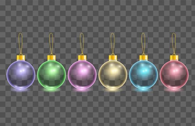 Insieme delle sfere trasparenti dell'albero di natale di vetro di colore