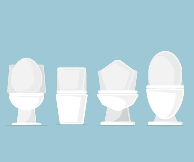 Insieme delle tazze di toletta nell'illustrazione di vettore del bagno
