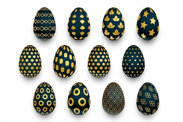 Insieme delle uova di pasqua nere e dorate del modello