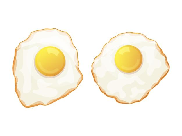 Insieme delle uova fritte su una priorità bassa bianca. gustosa colazione oggetto isolato su uno sfondo bianco. stile cartone animato. oggetto per imballaggio, pubblicità, menu. illustrazione vettoriale