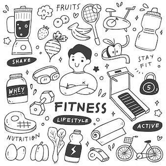 Insieme dello stile di vita sano nell'illustrazione di stile di scarabocchio