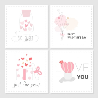 Insieme dello stile disegnato a mano di colore rosa dolce dell'etichetta di san valentino.