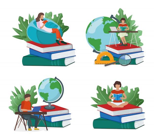 Insieme dello studio online di concetto, pila di libri di seduta della gente minuscola isolata