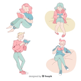 Insieme di adolescenti che leggono nello stile di disegno coreano