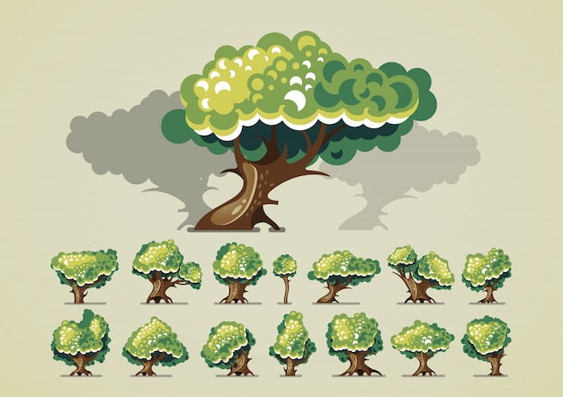 Insieme di alberi dopo la pioggia per i videogiochi