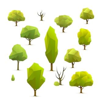 Insieme di alberi geometrici poligonali, illustrazione vettoriale