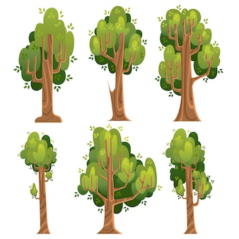 Insieme di alberi verdi. alberi estivi con stile. illustrazione su sfondo bianco. pagina del sito web e app per dispositivi mobili