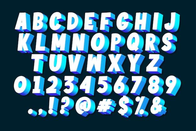 Insieme di alfabeto comico 3d
