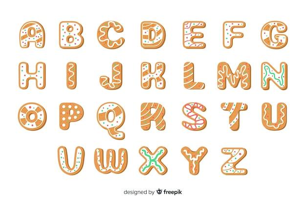 Insieme di alfabeto di natale del pan di zenzero