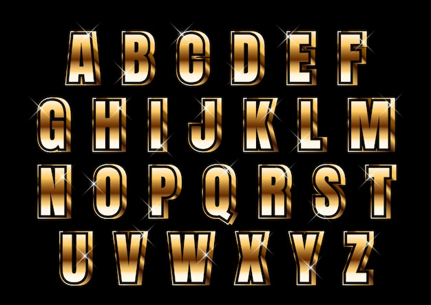 Insieme di alfabeto metallico forte oro 3d