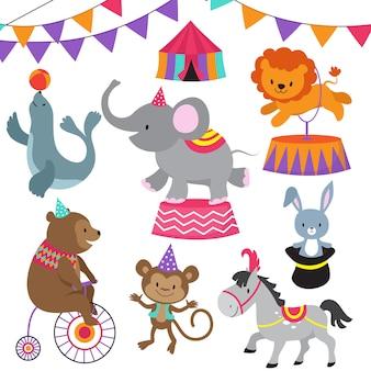 Insieme di animali del fumetto di spettacolo bambino circo