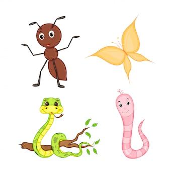 Insieme di animali isolato su sfondo bianco. simpatiche illustrazioni di animali dei cartoni animati