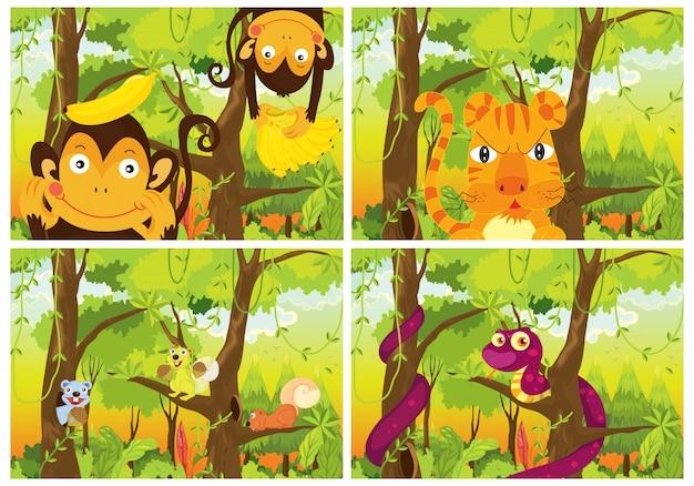 Insieme di animali selvatici nella foresta