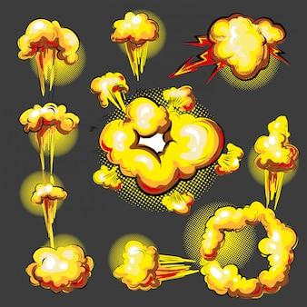 Insieme di animazione di effetto di esplosione di stile comico di pop art