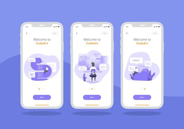 Insieme di app di agenzia di sviluppo web di progettazione dell'interfaccia utente mobile schermo onboarding