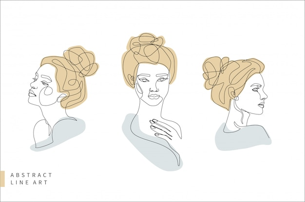 Insieme di arte astratta linea minimale viso. testa di donna di profilo e frontale. illustrazione disegnata a mano di progettazione di logo di modo.