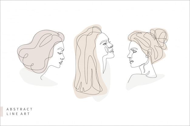 Insieme di arte astratta linea minimale viso. testa di donna di profilo. illustrazione disegnata a mano di progettazione di logo di modo.