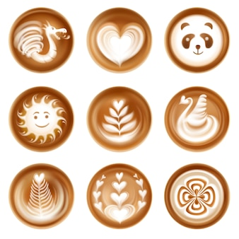 Insieme di arte del caffè del latte