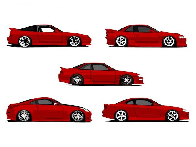 Insieme di arte rossa su ordinazione dettagliata dell'illustrazione del fumetto delle automobili