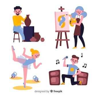 Insieme di artisti di diverse discipline. pittore, ballerino, artigiano e cantante