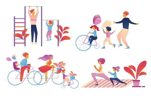 Insieme di attività di sport della famiglia felice isolato