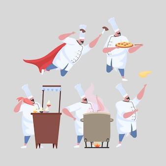 Insieme di attività uomo chef in uniforme.