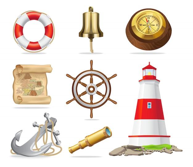 Insieme di attributi marini di illustrazioni vettoriali isolato