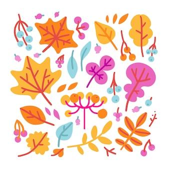 Insieme di bacche e foglie di autunno colorate luminose. isolato su sfondo bianco