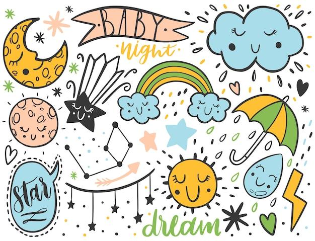Insieme di bambini di schizzo di doodle di vettore