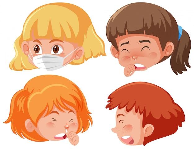 Insieme di bambini malati con sintomi diversi