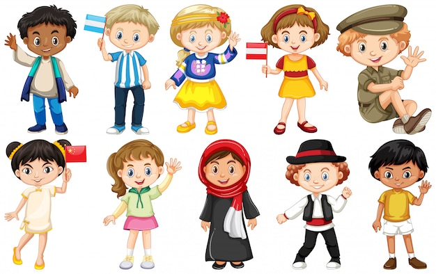 Insieme di bambini provenienti da diversi paesi