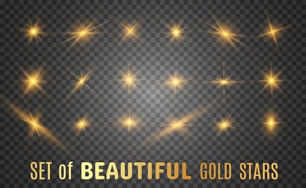 Insieme di belle stelle luminose. effetto luce. stella luminosa.