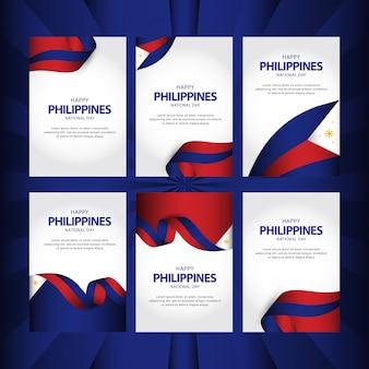 Insieme di biglietti d'auguri del modello di vettore di festa dell'indipendenza delle filippine