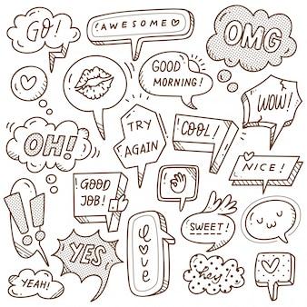 Insieme di bolla di discorso carino in stile doodle