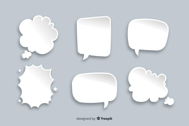 Insieme di bolle di chat in stile fumetto