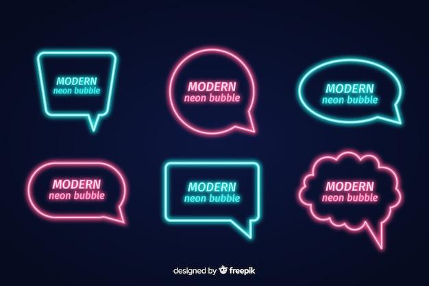 Insieme di bolle di discorso al neon con espressioni diverse