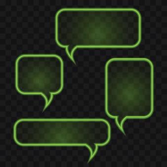 Insieme di bolle di discorso al neon verde brillante