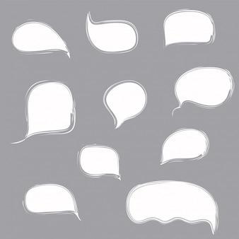 Insieme di bolle di discorso bianco