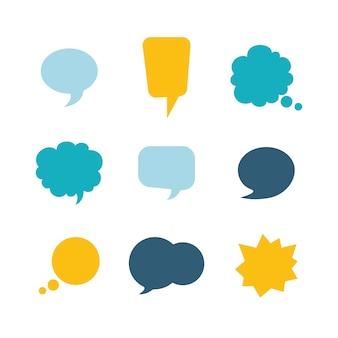 Insieme di bolle di discorso colorato