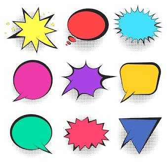Insieme di bolle di discorso comico retrò colorato luminoso