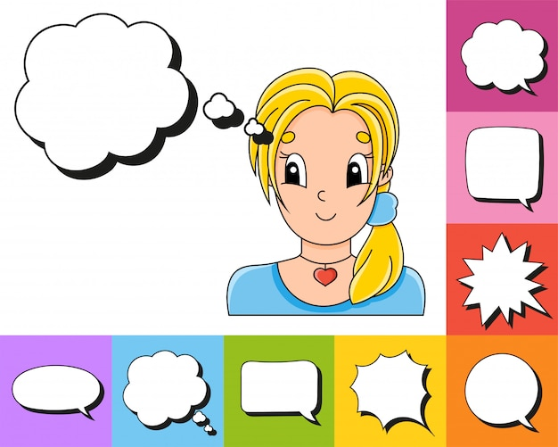 Insieme di bolle di discorso di diverse forme. con un simpatico personaggio dei cartoni animati.