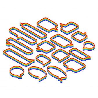 Insieme di bolle di discorso di varie forme, arcobaleno isometrico isolato