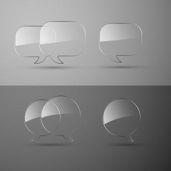 Insieme di bolle di discorso di vetro realistico