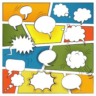 Insieme di bolle di discorso e di effetti sonori comici in bianco