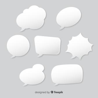 Insieme di bolle di discorso in stile carta