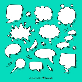 Insieme di bolle di discorso per i fumetti