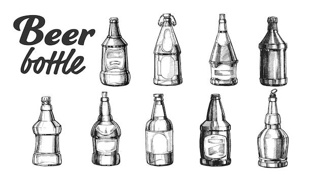 Insieme di bottiglia di birra chiuso vuoto in bianco disegnato a mano